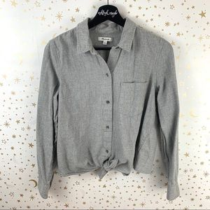 Madewell | Tie Front Gray Button Down Flannel Top